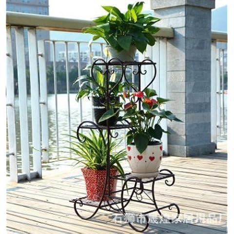 Ferro battuto ferro continentale appariscente Floor-Standing multistrato Flower Stand balcone esterno Giardino Vaso nero