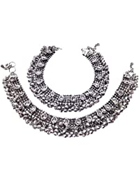 9Blings Antique Style Cz Silver Plated Bell Bridal Anklet For Women