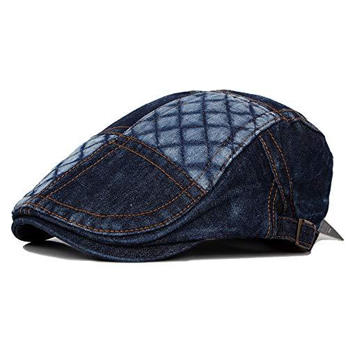 Fashian Unisex Denim Flat Cap Jeans Zeitungsjunge Patch Plaid Driving Einstellbare Gatsby Ivy Duckbill Irish Cap Hut (Color : 3, Size : Free Size) Irish Patch Cap