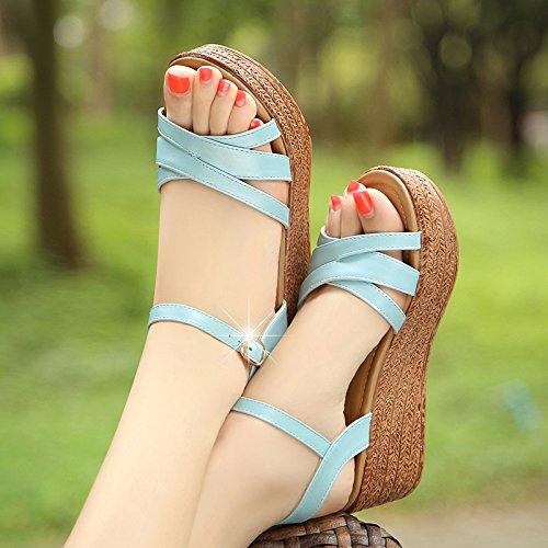 DGSA Die koreanische Version des dicken Plattform Schuhe Hang mit Sandalen weiblichen Sommer Fisch tipp Badeschuhe Studenten die die high-heel Schuhe Frauen himmelblau