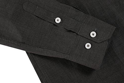 Aulei herren hemd langarm slim fit tailliert casual Freizeitbekleidung zweifarbiges Freizeithemd Schwarz