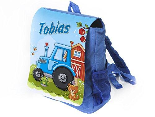 Kleiner Kinderrucksack Traktor in blau mit Name Bedruckt, Ideal für Kita/Kindergarten, Kindergartenrucksack
