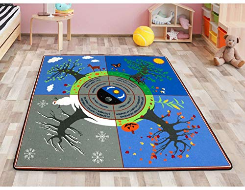 Primaflor - Ideen in Textil Lernteppich Kinderteppich Jahreszeiten 2m x 2m, Fußbodenheizung geeignet, Qualitätsteppich Spielteppich für Kinder, Jahreszeiten Lernen