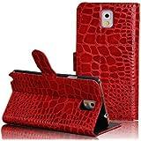 Semoss - Funda de cuero para Samsung Galaxy Note 3 (piel sintética, con función atril, con crédito titular tarjeta), diseño de piel de cocodrilo rojo rosso