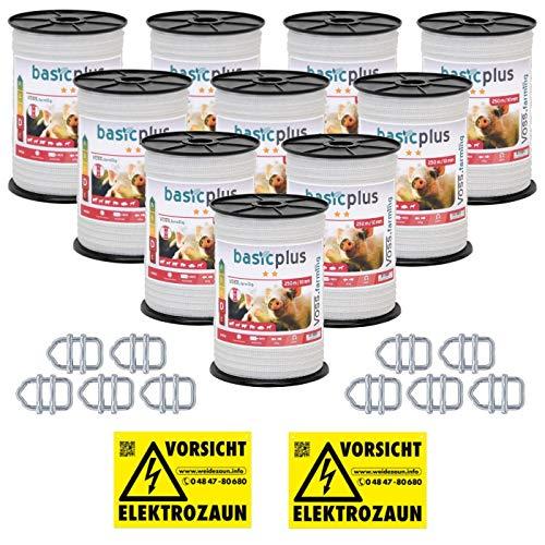 VOSS.farming 2500m Weidezaunband, 10mm, 4x0,16mm NIRO, Weiß, Band-Verbinder, Warnschild Elektrozaun Weideband Pferde, Ponys, Rinder, Hunde, Schweine Band