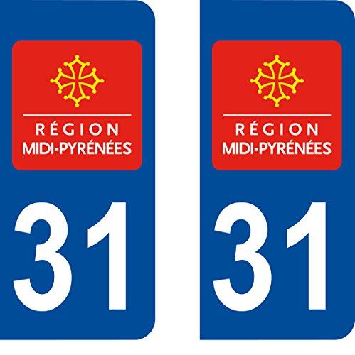 2 stickers autocollant style plaque immatriculation d partement 31 123autos. Black Bedroom Furniture Sets. Home Design Ideas