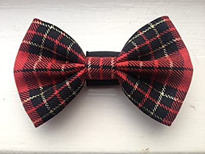 FAB Red and Gold Dog Bow Tie Slips over your Dogs collar from FAB