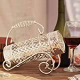 CJH Lega d'argento placcato elegante e splendido europeo creativo vino cremagliera manico in maglia maniglia espositore da banco vino rack B