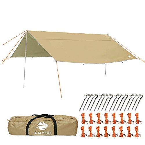 Anyoo 4x4m telo da campeggio per rifugio amaca leggera idrorepellente impermeabile durevole portatile e compatto inclusa di pali e picchetti puo essere usata per campeggio