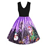 JYJM 2018 Frauen Vintage Print Sleeveless Weihnachten Abend Party schaukel Spitze Dress Sleeveless Weihnachten Schnee Weihnachten Druck Vintage Flare Taschen Kimono Sweaters Langarmshirts