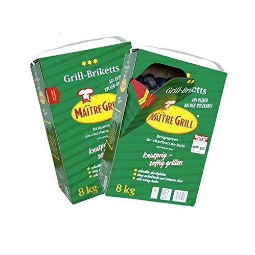 """16 kg """"Maître Grill ®"""" Grillbriketts - im praktischen Schüttkarton- aus reiner Buchenholzkohle (2x8kg Karton)"""