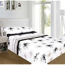 ForenTex - Juegos de sábanas, (TS-4021), Pinceladas Negro, cama 90 cm, con tacto seda de sedalina, nacarina, de 250 gr/m2, ultra suaves, exclusivas.