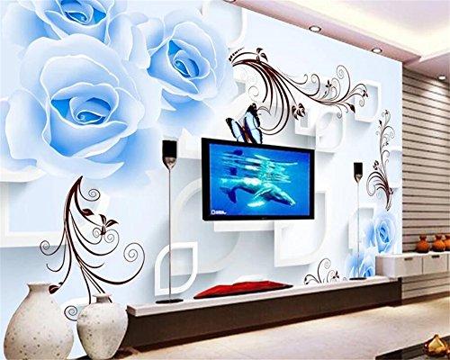 BHXIAOBAOZI Tapeten Fototapete 3D Custom Fototapete Abstract Weiß Blau Rosen Und Braunen Linien Wohnkultur Für Wohnzimmer Sofa Tv Hintergrund Schlafzimmer Wand Dekoration (-Bh0530)-440Cm(W)×270Cm(H)