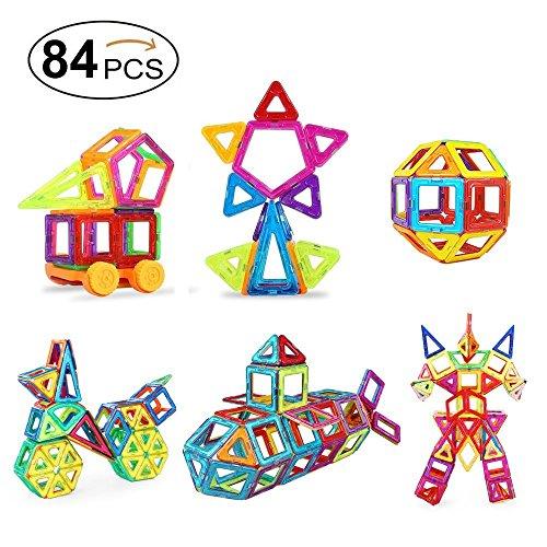 Mini Juego de Construcción, Distianert 84 Piezas 3D Bloques Magneticos/ Construcciones Magneticas / Juegos Magnéticos /Juguetes Creativos y Educativos Magnéticos para Niños el Mejor Regalo para Cumpleaños y Fiestas