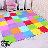 FB FunkyBuys® 40Pcs Multicolor Puzzled EVA Soft Foam Kids Play Area Mat 40SQ.FT Interlocking Tiles 30x30cm