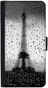 Snoogg Rainy Paris Graphic Snap On Hard Back Leather + Pc Flip Cover Htc M7