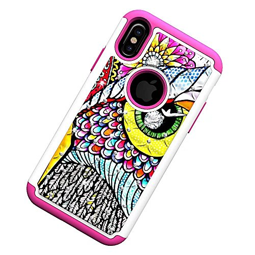 iPhone X Hülle, Lantier Shockproof Slim Dual Layer Heavy Duty Hybrid Armor Studded Rhinestone Bling Diamond Hard Soft Silicone Shell Crystal Bling Hülle with Flower Pattern für Apple iPhone X Rose