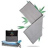 Travoyage  Bambus Microfaser Badetuch & Saunatuch - Außergewöhnlich schnelltrocknendes Strandtuch [40% Aktivkohlefaser] Großes Reisehandtuch für Damen & Herren