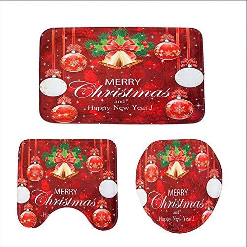 KUDIAN Badematte rot Set 3 Stücke Rutschfest Weihnachten Weicher Flanell Mehrere Stile Bad Hotel,Bellredball