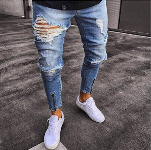 Uomo Hip Denim Moto Jeans Da Vintage Hop Slim Fit Strappati 1AT8Wx5Cqw