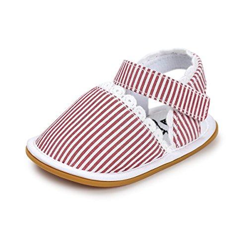 Bébé Fille Chaussures Premier Pas Antidérapants Sandales Florals à Dentelle Rayure Rouge