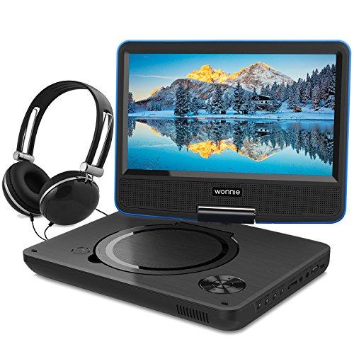 """WONNIE 9,5"""" Lecteur DVD Portable avec Ecran Rotatif, Batterie Rechargeable Intégrée Carte SD / USB Parfait pour Enfants (Bleu)"""