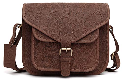 J. Wilson London, Damen Satchel-Tasche Braun Distressed Printed Reddish Brown M - Distressed Satchel