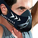 FDBRO Sports Mask - Workout Training Mask - Alta Alteco Endurance Mask Pliigas Forton, Kurante Resistance Breath Masko kun Portante Sako (Nigra, M (70-100kg))