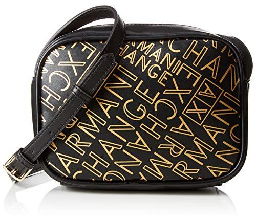 Armani Exchange Damen Small Crossbody Bag Umhängetasche, (Black/Gold), 13x6.5x18 cm