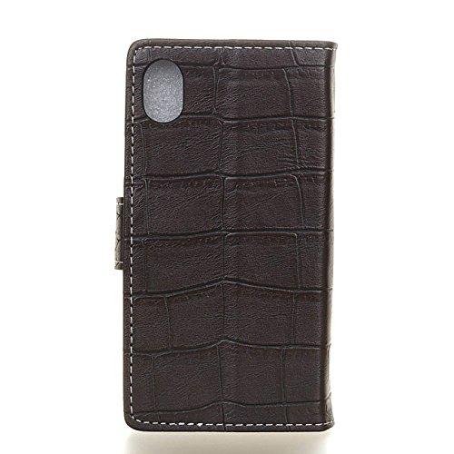 AddGuan iPhone X Case,Portafoglio Coperture Telefoniche[Coccodrillo Grano ]Cuoio PU Avanzato ,Flip Custodia Case Adatto Per iPhone X Case (Bianco) Nero