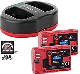 Baxxtar USB Dual Ladegerät Twin Port 1823/2 mit 2X Baxxtar Akku für Canon LP-E6N - XC10 XC15 EOS R 60D 70D 80D 90D 5D Mark I II III IV 6D 7D Mark I II