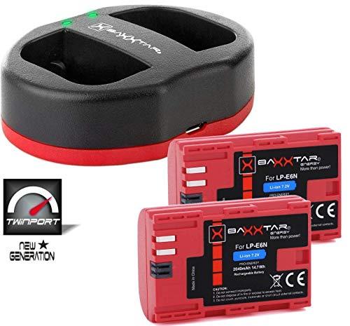 Baxxtar USB Dual Ladegerät Twin Port 1823/2 mit 2X Baxxtar Akku für Canon LP-E6N Für Canon XC10 XC15 EOS R 60D 70D 80D 5D Mark I II III IV 6D 7D Mark I II (Twin Ziele)