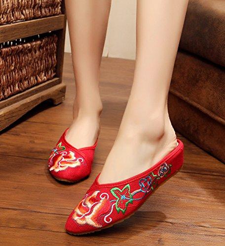MN Feine gestickte Schuhe, Sehnensohle, ethnischer Stil, weiblicher Flip Flop, Mode, bequem, Sandalen Red