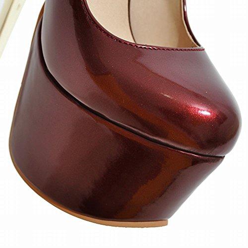 MissSaSa Donna Scarpe col Molto Alto Tacco Sexy e Spicco rosso vino