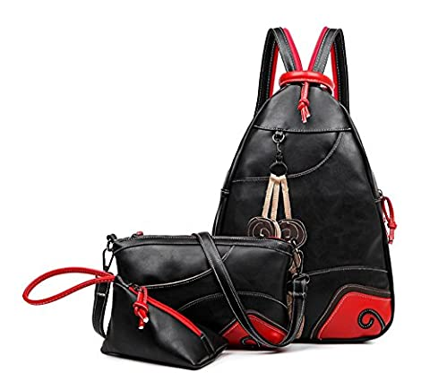 Fanova Women Fashion National Favorable 3 Packs Combination Bags Set Classic Patchwork Big Backpack+Shoulder