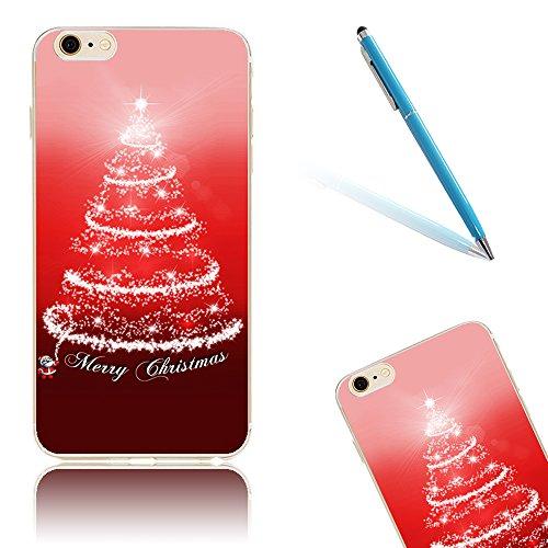 iPhone 8 Hülle, Luxus Christmas Series CLTPY iPhone 7 Dünne Weich Silikon Handytasche mit Transparent Bumper für Apple iPhone 7/8 + 1 x Freier Stift - Glocke Aperture Baum
