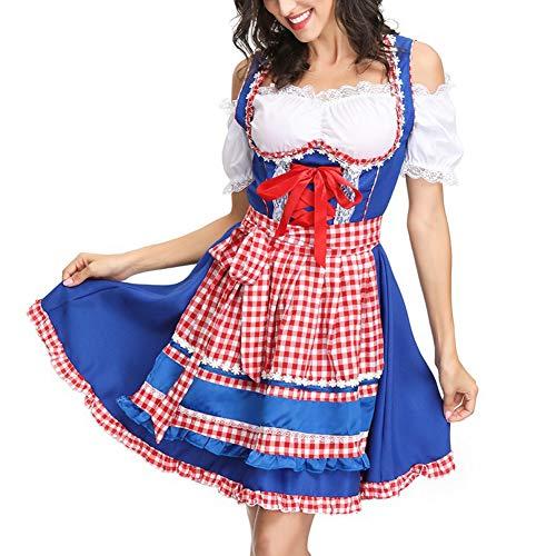 YCLOTH Dienstmädchen Kostüm, Neue Frauen schöne französische Dienstmädchen Cosplay Kostüme Halloween-Kleid, Kellner Bier Kostüm Karo - Französisch Kellner Kostüm