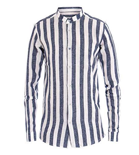 Giosal camicia uomo mod collo coreano fantasia righe rigata blu tessuto lino cotone blu-m