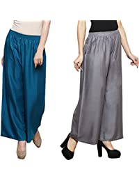 Eldino Rayon Petrol Grey Plazo Pant Indian Ethnic Plain Casual Wear Plazo Pant Women's Girls