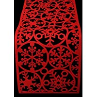 Christmas Red Felt Table Runner Snowflake Decoration Festive Party Dinner Xmas Dining Mat Cloth Cover 120cm x 30cm