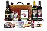 Estuche de Navidad BÁSICO con vino, turrón, dulces y dátiles.
