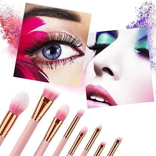 iBaste_top Pinceau de Maquillage 8 PCS Pinceaux De Maquillage Fond De Teint Pour Les Yeux Brosse Couleur De Flamme Poignée Poils Rose Brosse Outils De Maquillage