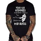 uraeus T-Shirt Tous Les Hommes Naissent égaux mais Les Deviennent Motard (L, Noir)