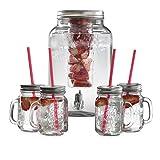 Swan SWKA8010N Glass Garden Party Drinks Dispenser Set, Clear, 8 Litre