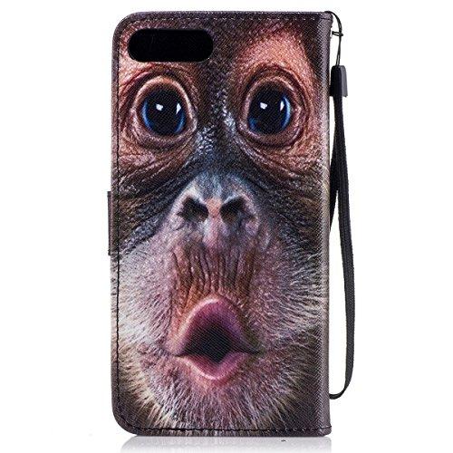Coque Etui pour iPhone 7 Plus/iPhone 8 Plus, iPhone 8 Plus Coque Portefeuille PU Cuir Étui à Rabat, iPhone 8 Plus Coque de Protection en Cuir Folio Housse, iPhone 7 Plus Leather Case Wallet Flip Prote Orangutan