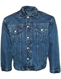 Mens Blue Aztec Jeans Designer Long Sleeved Collared Denim Jacket Size L