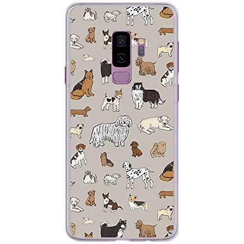 BJJ SHOP Tansparent Hülle für [ Samsung Galaxy S9 Plus ], Flexible Silikonhülle, Design: Hunde verschiedener Rassen (Shop Hund)
