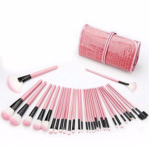 Pinceau de maquillage Beauté Pinceau de maquillage Cosmétiques Professionnel Essentiel 32 pièces Ensemble de pinceaux de maquillage Sac de voyage , pink