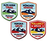 4er-Set, Stick Abzeichen / Wanderwege / Alpe Adria Trail, Mallorca GR221, Korsika GR20, München-Venedig / Applikation Aufnäher Aufbügler Bügelbild / 51 x 60 mm Patch Wandern Trekking Reise Karte