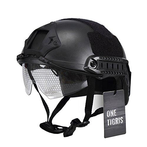 OneTigris Militär Helm MH Type Helm Taktische Softair Paintball Motorrad Helm mit Schutzbrille (Schwarz)